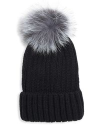 Annabelle New York - Pom-pom Knit Fox Fur Beanie - Lyst