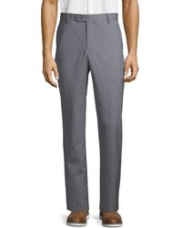 Saks Fifth Avenue Textured Wool Trousers - Gray