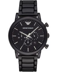 Emporio Armani Black-finished Stainless Steel Chronograph Link Bracelet Watch