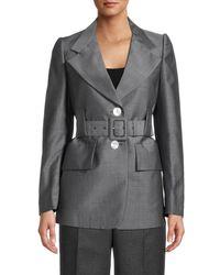 Prada Belted Mohair & Wool Blazer - Grey