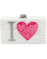 Edie Parker Jean I Heart La Marbled Box Clutch - White