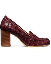 MICHAEL Michael Kors Women's Buchanan Block-heel Croc-embossed Penny Loafers - Luggage - Size 9 - Red