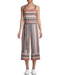 Beach Lunch Lounge Striped Linen & Cotton Blend Jumpsuit - Multicolour