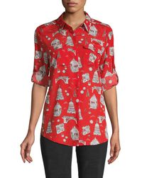 Karl Lagerfeld Graphic Long-sleeve Shirt - Red