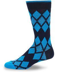 Bugatchi Argyle Crew Socks - Blue