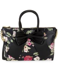 Karl Lagerfeld Floral Faux Leather Satchel - Black