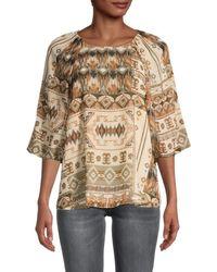 Calvin Klein Geometric-print Puffed-sleeve Top - Multicolour