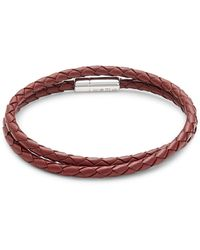 Tateossian Sterling Silver & Leather Double Wrap Bracelet - Red