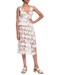 Tracy Reese Floral Embroidery Midi Dress - White