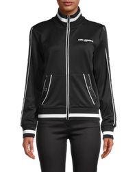 Karl Lagerfeld Stand Collar Full-zip Jacket - Black