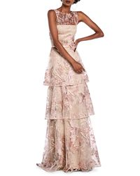 THEIA Sequin Tiered Illusion Gown - Pink