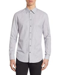 Armani - Tailored-fit Checkered Cotton Shirt - Lyst