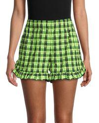 Ganni Check Ruffle-hem Shorts - Green
