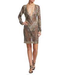 Naeem Khan Women's Deep-v Embroidered Cocktail Dress - Silver/gold - Size 10 - Metallic
