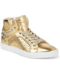 Alessandro Dell'acqua - Metallic Hi-top Stud Sneakers - Lyst