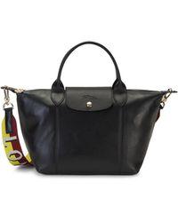 Longchamp Le Pliage Cuir Leather Top Handle Bag - Black