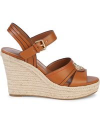 Tommy Hilfiger Faux Leather Espadrille Wedge Sandals - Brown