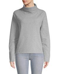 Pure Navy Cotton-blend Turtleneck Sweatshirt - Grey