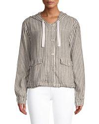 Sanctuary - Nova Striped Hooded Linen Jacket - Lyst