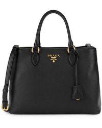 Prada Phenix Pebbled Leather Satchel - Black