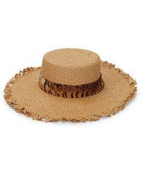 Ava & Aiden Animal-print Band Straw Hat - Brown
