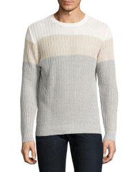 Eleventy - Colorblock Cotton & Linen Rib-knit Sweater - Lyst