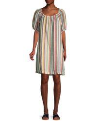 Beach Lunch Lounge Ceyda Striped Linen & Cotton Dress - Natural