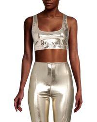 Lisa Marie Fernandez Women's Metallic Cropped Top - White Gold - Size Xs