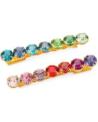 Lelet Rainbow Spectrum Swarovski Crystal Bobbi Pin 2-piece Set - Blue