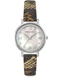 BCBGMAXAZRIA Classic Stainless Steel Python-embossed Leather-strap Watch - Metallic