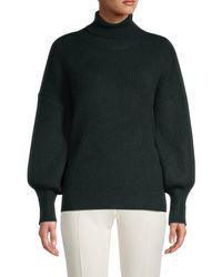 Sweet Romeo Women's Puff-sleeve Turtleneck Sweater - Dark Teal - Size S - Multicolor
