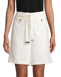 Calvin Klein Self-tie Linen Shorts - Multicolour