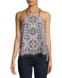 Laundry by Shelli Segal - Printed Crepe Halter Top - Lyst