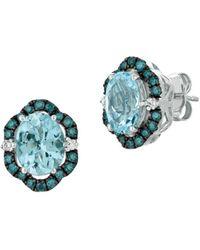 Le Vian Exotics® 14k Vanilla Gold®, Vanilla Diamonds®, Blueberry Diamonds® & Sea Blue Aquamarine® Earrings