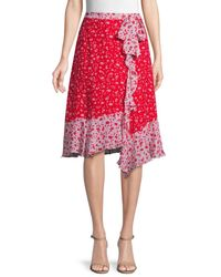 Parker Women's Collins Floral Ruffle Asymmetric Skirt - Kaia - Size 00 - Red