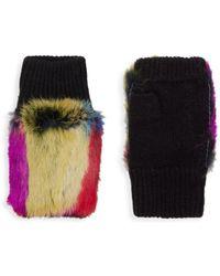 Adrienne Landau Dyed Rabbit Fur-trim Fingerless Gloves - Black