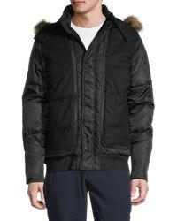 Karl Lagerfeld Men's Faux Fur-trim Hooded Puff Jacket - Black - Size L