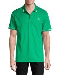 Lacoste Men's Striped Polo - Green - Size 3 (s)