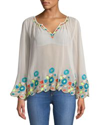 Plenty by Tracy Reese Border Embroidered Peasant Top - White