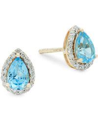 Saks Fifth Avenue - Diamond, Pear Swiss Blue Topaz And 14k Gold Stud Earrings - Lyst