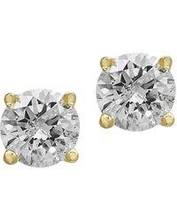 Effy - 14k Yellow Gold & Diamond Stud Earrings - Lyst