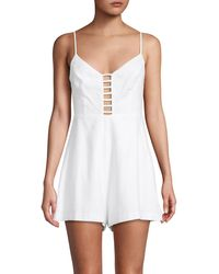 BCBGeneration Ladder-trim Plunging Romper - White
