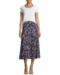 Rebecca Taylor | Tea Rose Ruffled Silk Skirt | Lyst