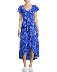 Tracy Reese Cascade Printed Hi-lo Dress - Blue