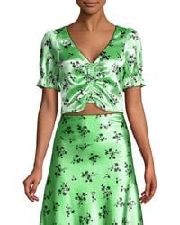 Likely Women's Mona Floral Cropped Blouse - Pistachio Black - Size 10 - Green