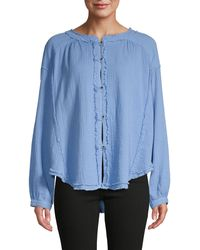 Free People Frayed-trim High-low Cotton Top - Blue