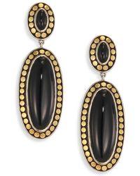 John Hardy - Dot Black Onyx & 18k Bonded Yellow Gold Oval Drop Earrings - Lyst