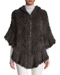 Belle Fare - Herringbone Knit Hooded Dyed Mink Fur Poncho - Lyst