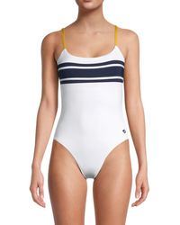 Sperry Top-Sider Women's Striped One-piece Swimsuit - White - Size Xl