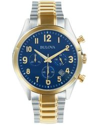 Bulova Men's Two-tone Stainless Steel Chronograph Watch - Blue